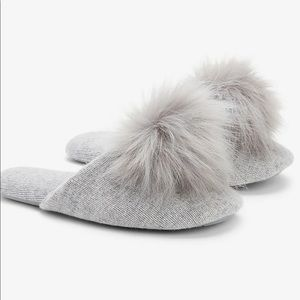 Express X You Cashmere Pom Slippers Gray-M-7/8